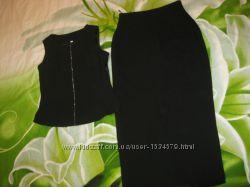 Роскошный черный костюм комплект топ блуза и юбка Новый