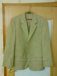 Роскошный Пиджак натур. лен цвет оливковый беж р. 54, 56