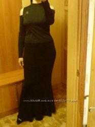 Роскошная Юбка спідниця довга в пол черная шерстяная р 44-52