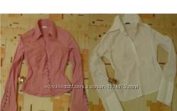 Великолепная бел розов базовая блуза рубашка р 42, 44, 46, 48, 50 натур хлопок