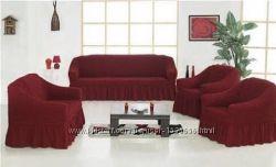Набор чехлов для мебели Диван и 2 кресла ТурцияУниверсальные Разные цвета