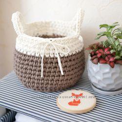 вязанные корзинки из трикотажной пяжи