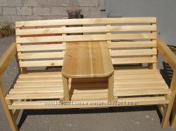 Кресла из натурального дерева. Одинарное и парное со столом.