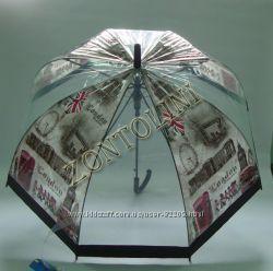 Прозрачные зонты-трости. Стильно и недорого.