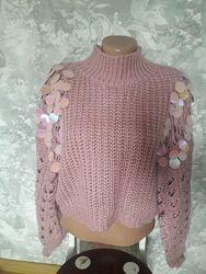 Роскошный свитер, пуловер оверсайс укороченый s
