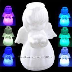 Ночники мини светильники LED Елка Бабочка Дед Мороз Снеговик Месяц Китти